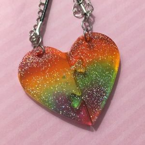 Rainbow Heart Necklaces for friends or couple